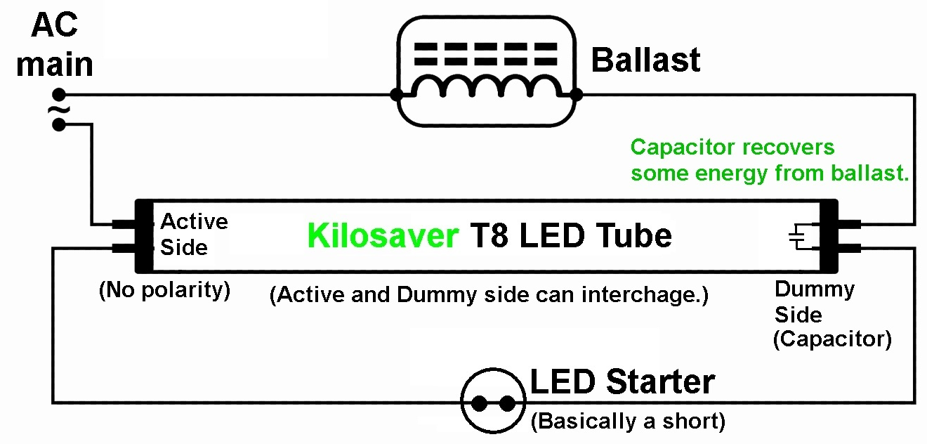 Energy Savings Led Sensors Capacitor Circuit For Those With Existing Fluorescent Tube And Dont Wish To Remove Them You Just Need Replace The Started Provided Starter